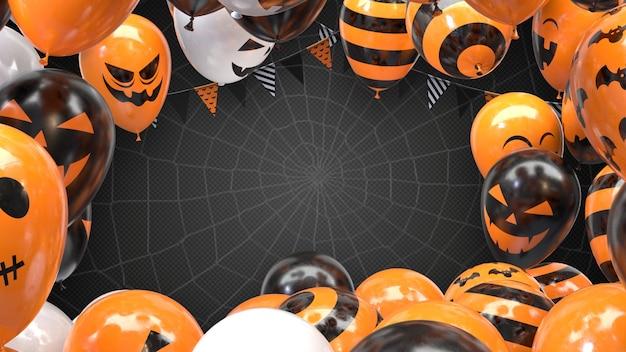 Ballons d'halloween de rendu 3d et drapeaux suspendus sur une corde