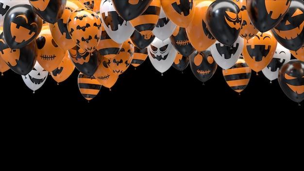 Ballons d'halloween de rendu 3d frappant le plafond