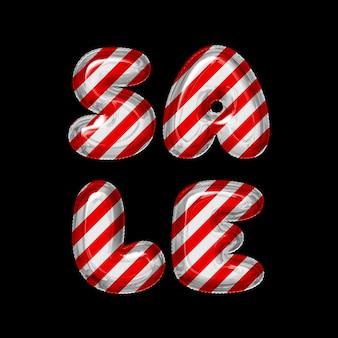 Ballons à lettres rayées rouges et blancs vente sur fond noir