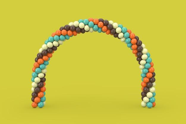 Ballons marron, bleu et orange en forme d'arc, de porte ou de portail sur fond vert. rendu 3d