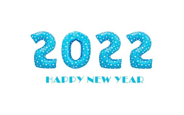 Ballons de noël bleu 2022 isolés sur fond blanc numéros pour la bonne année 2022