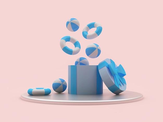 Des ballons de plage et des bouées de sauvetage sortent d'une boîte cadeau