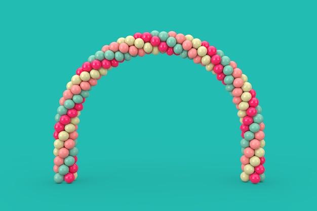 Ballons roses, bleus et oranges en forme d'arc, de porte ou de portail sur fond bleu. rendu 3d