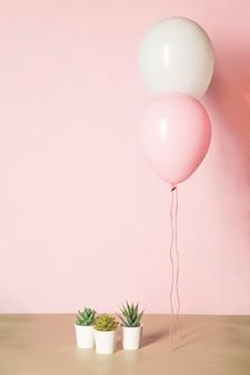 Ballons roses et cactus