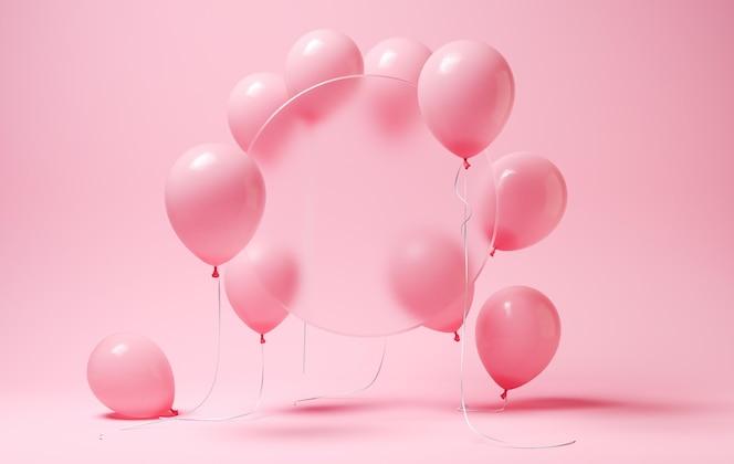 Ballons roses avec cercle flou