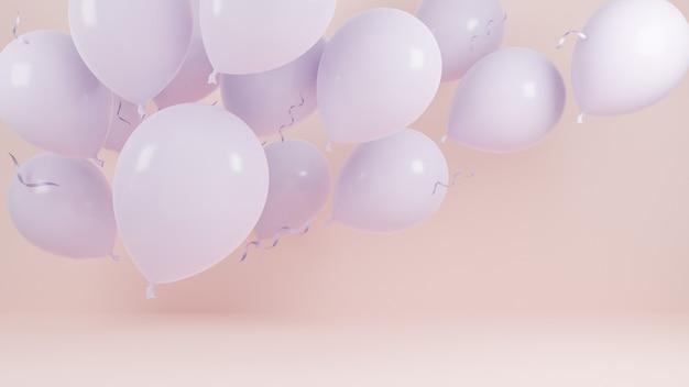 Ballons roses flottant sur fond pastel rose.fête d'anniversaire et concept de nouvel an. modèle 3d et illustration.