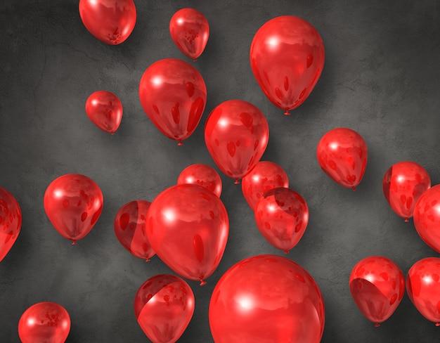 Ballons rouges flottant dans les airs