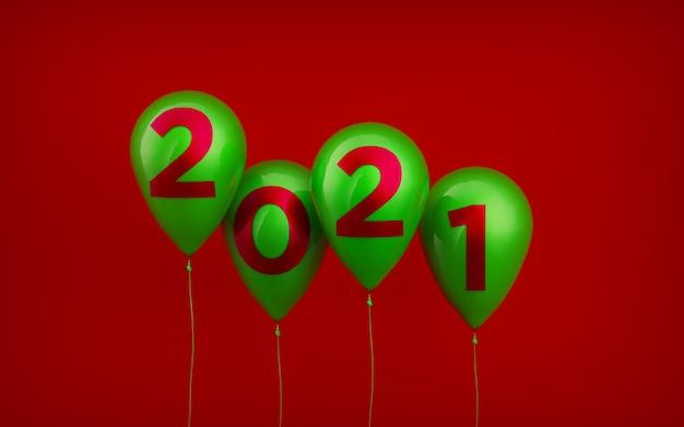 Ballons rouges flottants, sérigraphiés avec des numéros de réveillon du nouvel an en vert