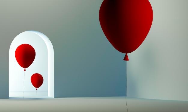 Ballons rouges à l'intérieur de la chambre