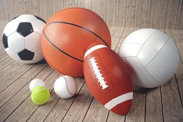 Ballons de sport de rendu 3d sur backgorund en bois