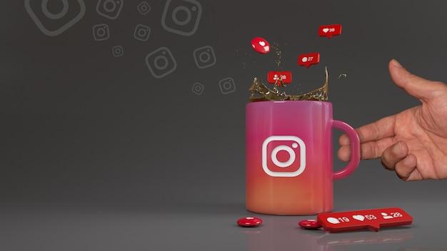 Des ballons avec les symboles des abonnés, des likes et des commentaires tombant dans une tasse avec le logo instagram.