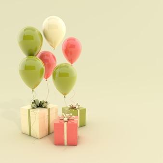 Ballons verts et jaunes de rendu 3d et boîte-cadeau