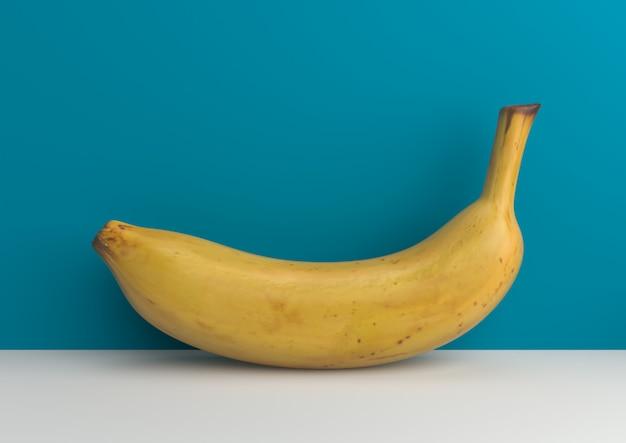 Banane minimale sur le rendu 3d de fond bleu.