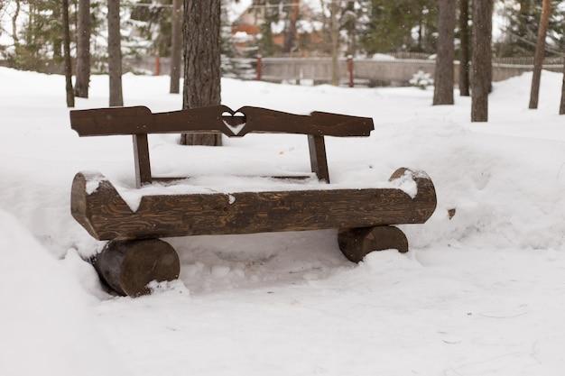 Banc en bois dans le parc d'hiver
