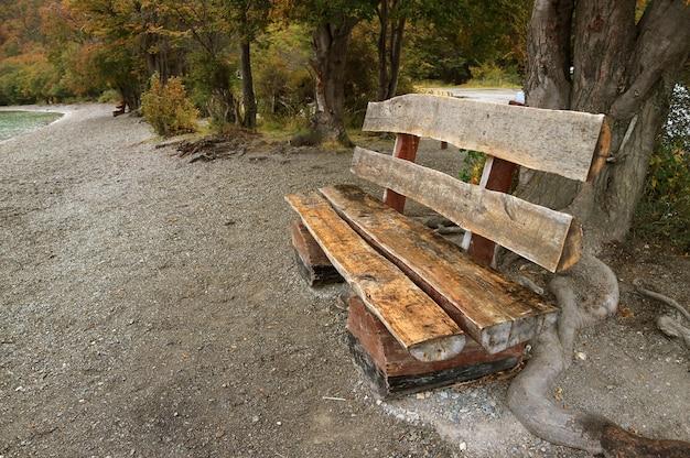 Banc en bois rustique sur le lac shorr, parc national de la terre de feu, patagonie, argentine