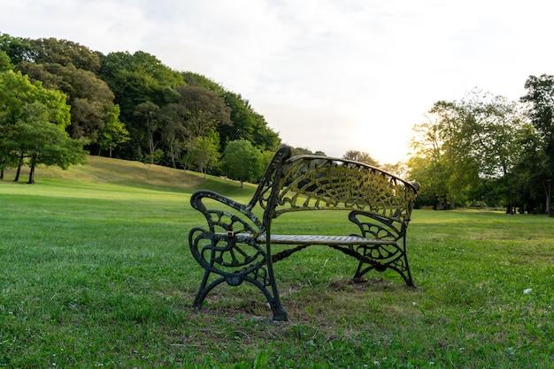 Banc en métal dans le parc au crépuscule sans personne