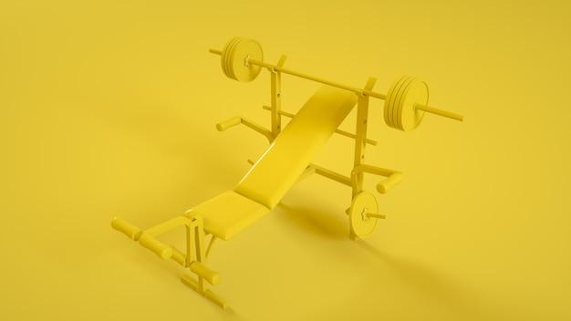 Banc de musculation pour poitrine à plat sur jaune. rendu 3d.