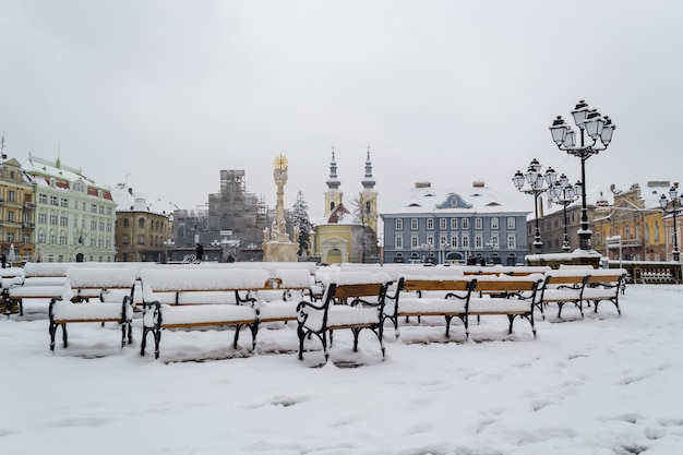 Bancs couverts de neige.