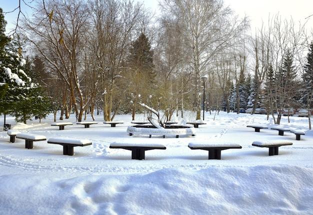 Bancs dans le parc d'hiver saule pleureur commémoratif parmi les congères dans le parc glory