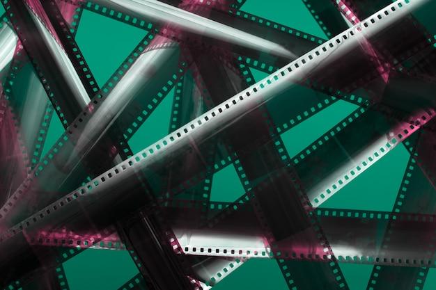 Bande de film analogique. intrigue de film emmêlé.