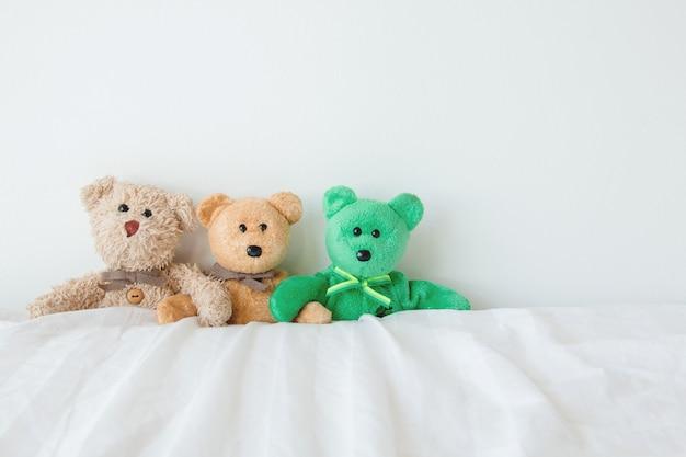 La bande d'ours en peluche s'embrassant dans l'amour le jour de la saint-valentin