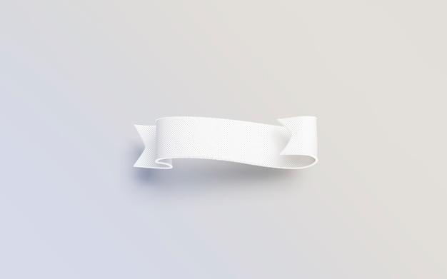 Banderole blanche vierge isolée sur une surface grise, rendu 3d.