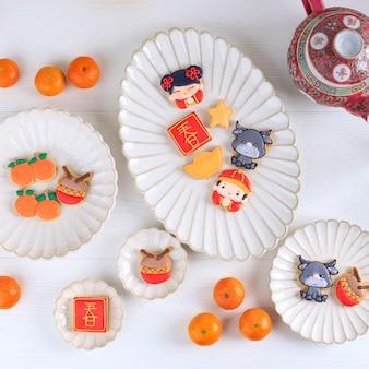 Bandung, indonésie, 01122021: nouvel an chinois imlek caractère de biscuits au sucre. le caractère chinois est