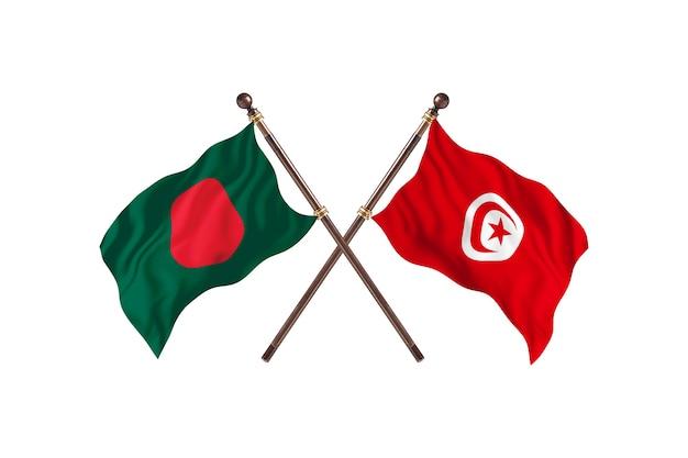 Bangladesh contre tunisie drapeaux contexte