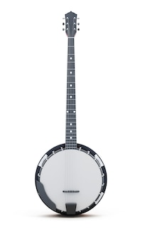 Banjo isolé verticalement sur fond blanc. rendu 3d.