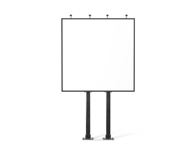 Bannière blanche vierge sur le panneau d'affichage carré de la ville noire