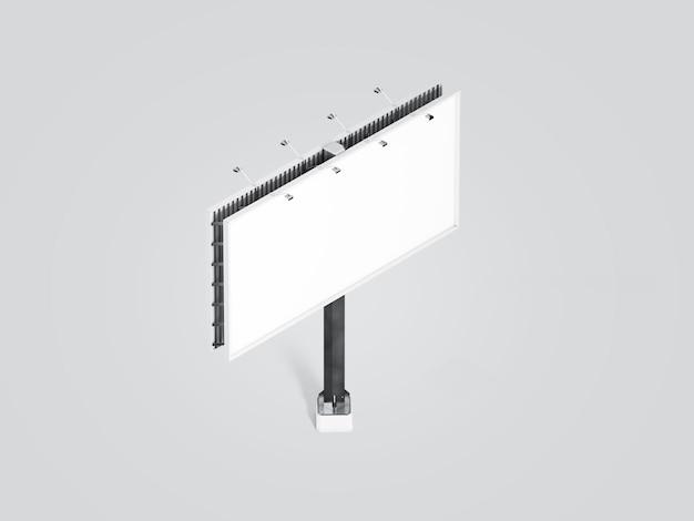Bannière blanche vierge sur le panneau d'affichage de la ville, vue isométrique