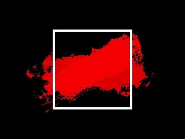Bannière. carré blanc avec touche rouge isolé sur fond noir. photo de haute qualité
