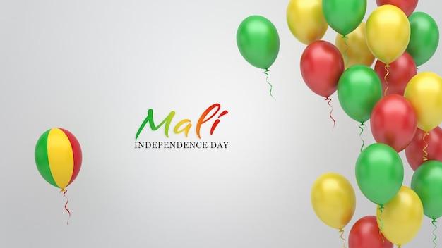 Bannière de célébration avec des ballons aux couleurs du drapeau du mali.