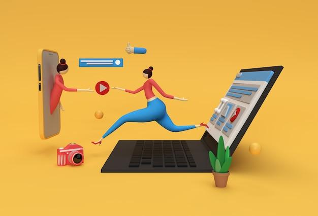 Bannière de contrat de développement web de rendu 3d créatif, matériel de marketing, présentation, publicité en ligne.