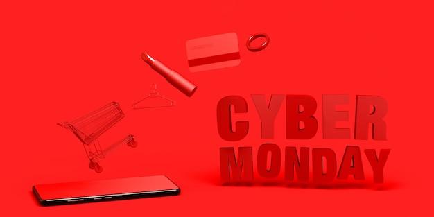 Bannière cyber monday fond avec anneau de rouge à lèvres pour smartphone et carte de crédit