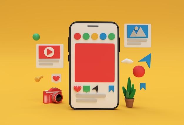 Bannière de développement web de médias sociaux creative 3d render mobile mockup, matériel de marketing, présentation, publicité en ligne.