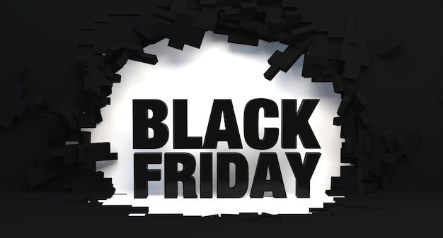 Bannière du vendredi noir fond de mur cassé pour publicité promotionnelle ou illustration 3d de vente