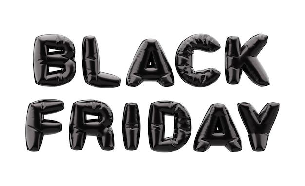 Bannière du vendredi noir avec des polices de ballon noir 3d. bannière de vente vendredi noir.