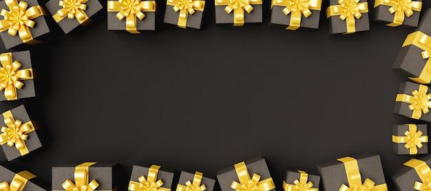 Bannière entourée de coffrets cadeaux sombres avec des rubans dorés et un espace pour le texte en arrière-plan
