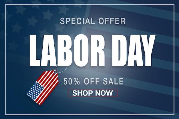 Bannière de la fête du travail heureux, fond patriotique américain