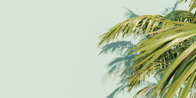Bannière de feuilles de palmier sur une surface bleue