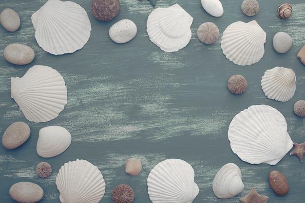 Bannière fond de pierre coquille de mer rétro en bois naturel.
