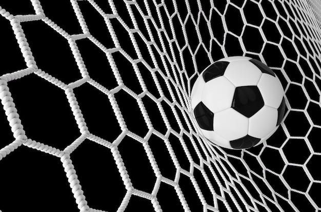 Bannière de football ou de football avec ballon 3d dans le filet.