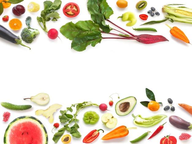 Bannière de fruits et légumes mélangés