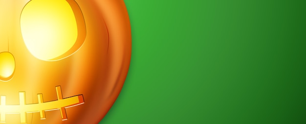 Bannière d'halloween heureux. image réaliste d'une citrouille orange sur fond vert.