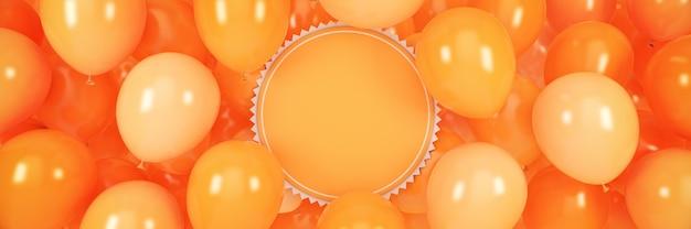 Bannière horizontale avec des ballons et rendu 3d du cadre