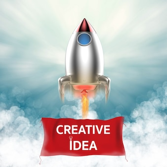 Bannière d'idée créative suspendue avec navette spatiale