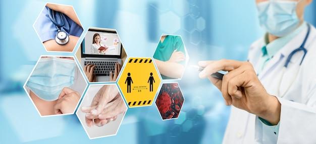 Bannière de jeu d'images coronavirus covid-19 dans le concept d'informations de prévention