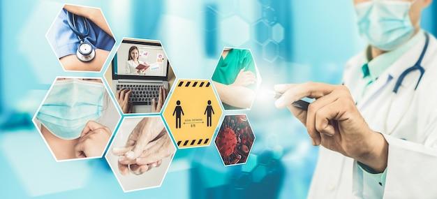 Bannière de jeu d'images du coronavirus covid19 dans le concept d'informations de prévention