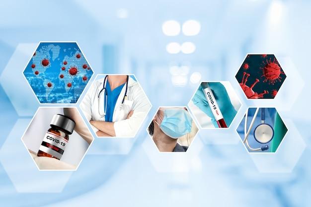 Bannière de jeu de photo coronavirus covid-19 dans le concept de traitement médical
